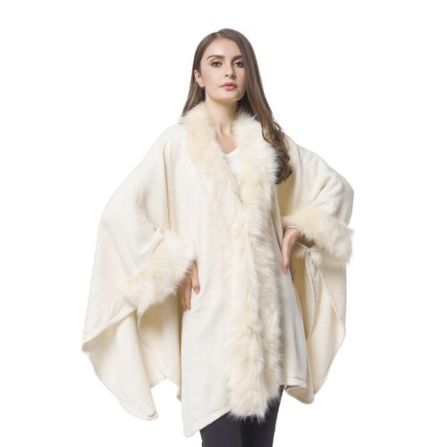 Cream Colour Cape with Faux Fur Edge (Free Size)