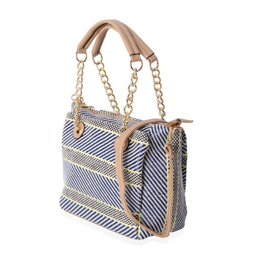 Black, Blue and Multi Colour Tote Bag with Removable and Adjustable Shoulder Strap (Size 27x25x11.5 Cm)
