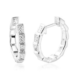 Diamond Full Hoop Earrings in Sterling Silver