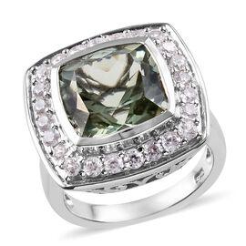 Prasiolite (Cush 11x11 mm 5.55 Ct), Natural Cambodian Zircon Ring in Platinum Overlay Sterling Silve