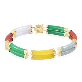 Designer Inspired-Multi Colour Jade Bracelet (Size 8) in Yellow Gold Overlay Sterling Silver 108.250 Ct.
