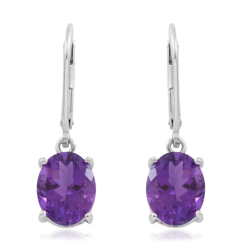 Amethyst (Ovl) Lever Back Earrings in Rhodium Plated Sterling Silver 4.500 Ct.