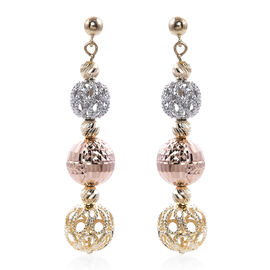 9K Yellow, White and Rose Gold Dangle Earrings (with Push Back), Gold wt 5.07 Gms