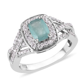 1.70 Ct Grandidierite and Cambodian Zircon Halo Ring in Platinum Plated Sterling Silver