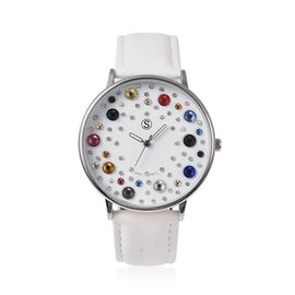 STRADA Japanese Movement Multi Colour Austrian Crystal Studded Water Resistant Watch with White Colo