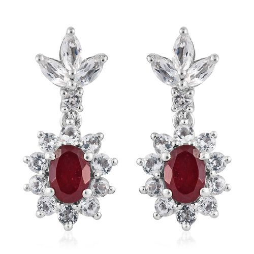 African Ruby (Ovl), White Topaz Earrings (with Push Back) in Platinum Overlay Sterling Silver 4.750