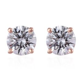 J Francis - Rose Gold Overlay Sterling Silver Stud Earrings Made with SWAROVSKI ZIRCONIA
