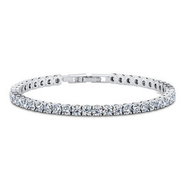 One Time Mega Deal- Simulated Diamond (Rnd 4mm, 10 Ct Equivalent) Tennis Bracelet (Size 8) in Silver