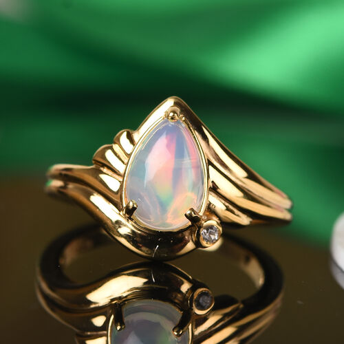 Designer Inspired- One Time Deal Ethiopian Welo Opal and Natural Cambodian Zircon Ring in 14K Gold Overlay Sterling Silver 1.00 Ct.