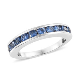 ILIANA 18K White Gold AAA Royal Ceylon Sapphire (Rnd) Half Eternity Band Ring 1.000 Ct.