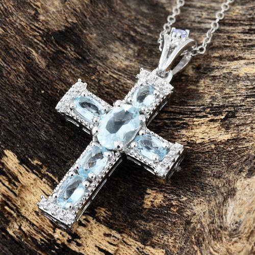 Easter Special-Espirito Santo Aquamarine (Ovl), Natural Cambodian Zircon and Tanzanite Cross Pendant with Chain in Platinum Overlay Sterling Silver 1.500 Ct.