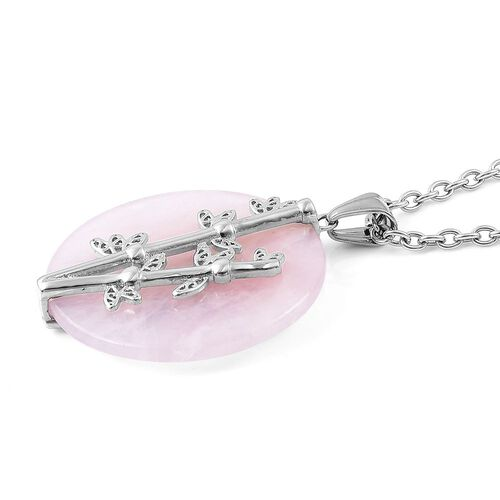 Rose Quartz Pendant with Chain (Size 20) in Stainless Steel 70.000 Ct.