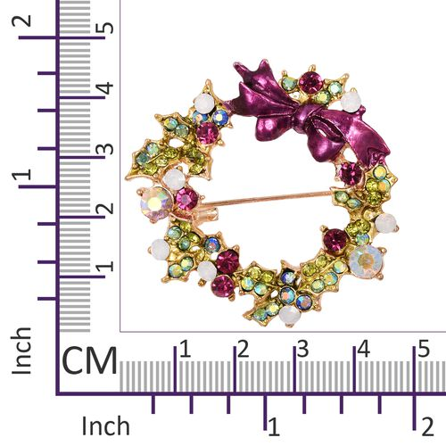 Multi Colour Austrian Crystal (Rnd), Christmas Wreath Brooch in Gold Tone