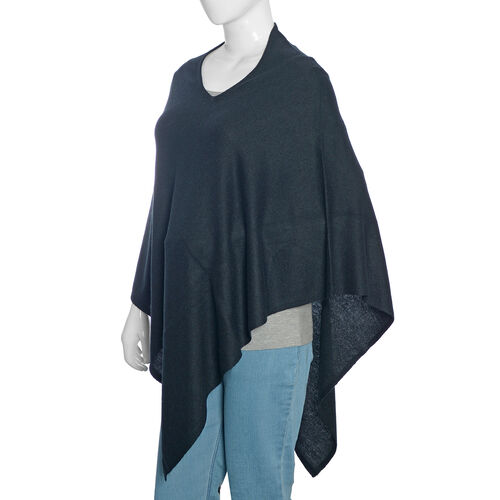 Limited Available - 100%  Cashmere Pashmina Wool Poncho - Black (Free Size)