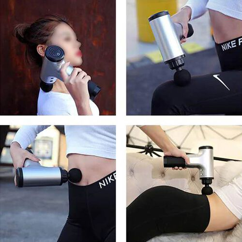 Handheld Rechargeable Physio Massage Gun with 4 Detachable Massage Head (Size 17x6x21.5 Cm) - Black and Grey