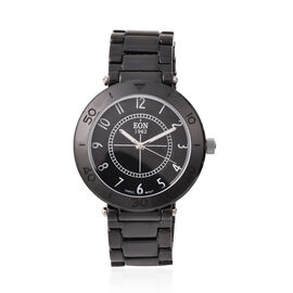 EON 1962 Swiss Movement 3 ATM Water Resistant Watch in Stainless Steel with Black Ceramic Chain Stra