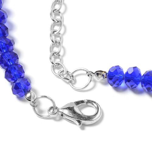 Murano Style Glass, Ceramic, Simulated Sapphire, Lapis Lazuli,Simulated Grey Moonstone and Multi Colour Beads Necklace (Size 28) in Silver Plated.