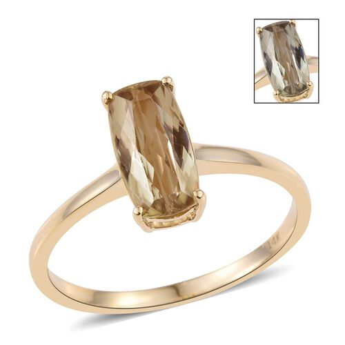 14K Y Gold Natural Turkizite (Cush) Solitaire Ring 1.500 Ct.