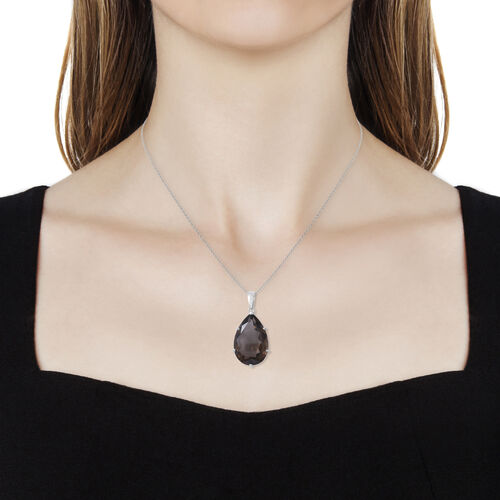 Brazilian Smoky Quartz (Pear 30x20 mm) Pendant With Chain (Size 30) in Rhodium Overlay Sterling Silver 42.550 Ct, Silver wt 5.36 Gms.