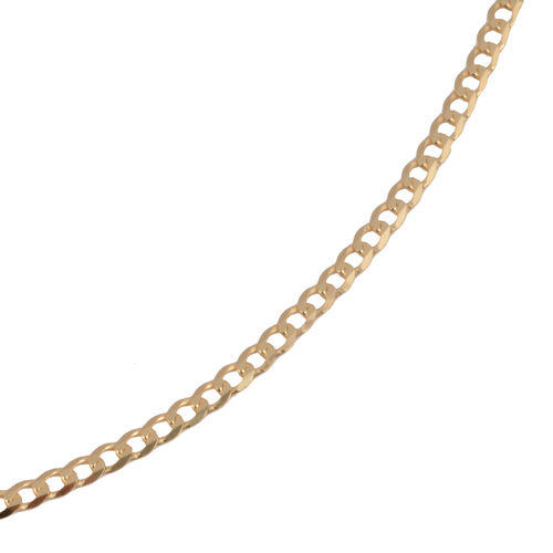 Hatton Garden Close Out Deal- 9K Yellow Gold Flat Curb Necklace (Size 24) Gold Wt 3.00 Grams