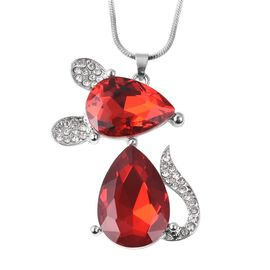 Simulated Mystic Red Topaz (Pear) and White Austrian Crystal Mouse Design Pendant with Chain (Size 2