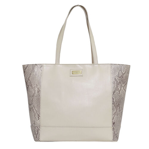 Assots London Animal Print Leather Tote Bag (Size 39x29x10.5cm) - Nude