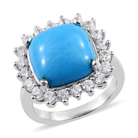 7 Ct Arizona Sleeping Beauty Turquoise and Cambodian Zircon Halo Ring in Sterling Silver 4.93 Grams