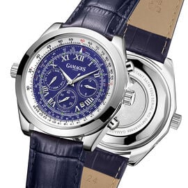 GAMAGES OF LONDON Limited Edition Hand Assembled Rotating Sports Automatic Blue