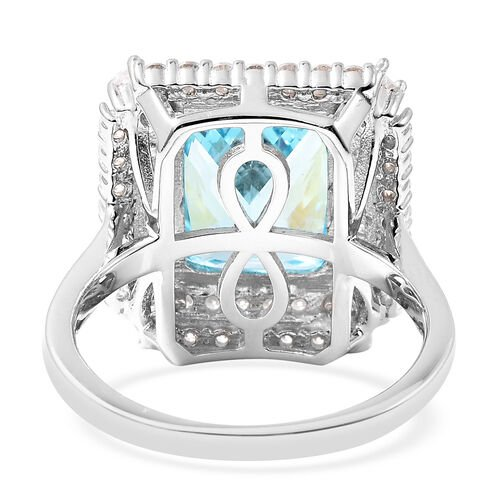 ELANZA Simulated Sky Blue Topaz and Simulated White Diamond Ring in Platinum Overlay Sterling Silver 12.40 Ct.