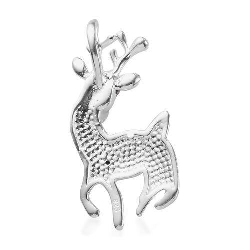 Black Diamond Deer Pendant in Sterling Silver
