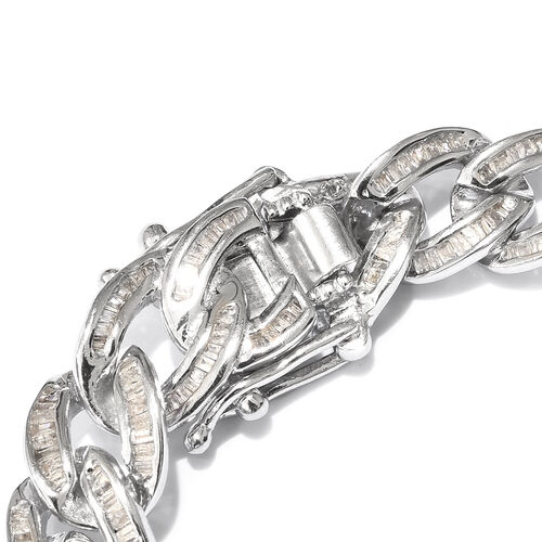 Diamond (Bgt) Curb Bracelet (Size 8) in Platinum Overlay Sterling Silver 3.000 Ct, Silver wt 22.40 Gms,