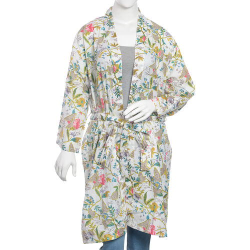 100% Cotton Off White, Green and Multi Colour Flower and Leaves Pattern Apparel (Size 100x65 Cm)