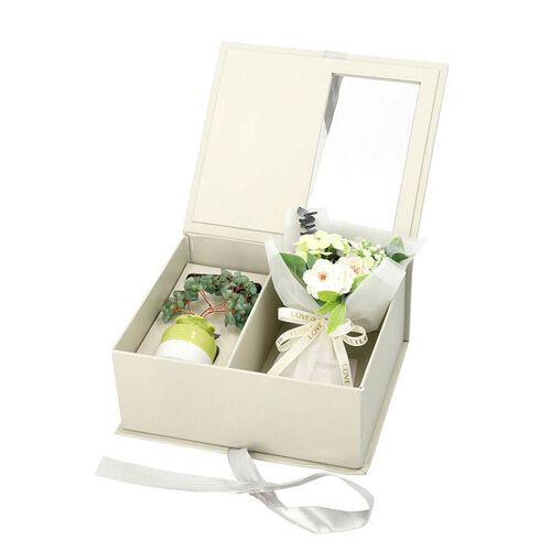 The 5th Season Gemstone Tree In Porcelain Vase with  100ml Essential oil and Artificial Bouquet In Gift Box - Green Aventurine