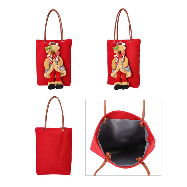 Christmas Collection - 3D Snowman Tote Bag - Size 26x32cm - Red