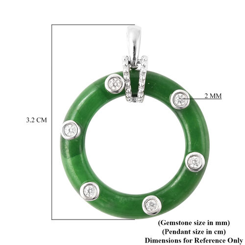 Green Jade and Natural Cambodian Zircon Circle Pendant in Rhodium Overlay Sterling Silver 15.80 Ct.