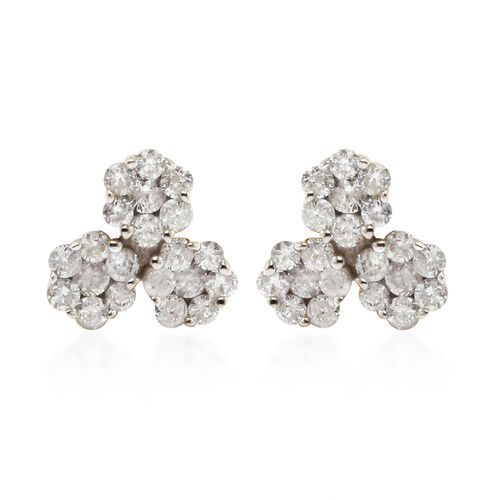 0.50 Ct Diamond Pressure Set Floral Stud Earrings in 9K Yellow Gold SGL Certified I3 GH