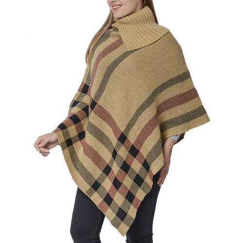 Designer Inspired- Camel & Black Colour Roll Neck Checker Pattern Poncho (Size 68x90 Cm)