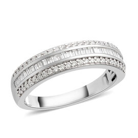 RHAPSODY 950 Platinum Diamond (Bgt and Rnd) (VS/F) Ring 0.500 Ct, Platinum wt 5.90 Gms.