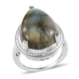 Labradorite (Pear 14.00 Ct), Diamond Ring in Platinum Overlay Sterling Silver 14.020 Ct.