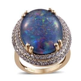 9K Yellow Gold Australian Boulder Opal (Ovl 20x15 mm), Natural Cambodian Zircon Ring