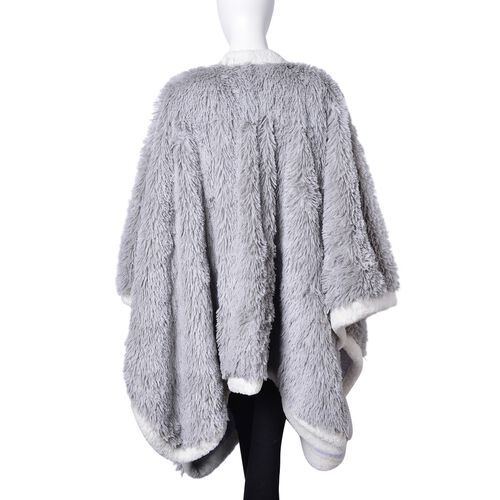 Designer Inspired-Super Soft Grey Colour Long Pile Wrap with Sherpa Border and Pockets (Free Size)