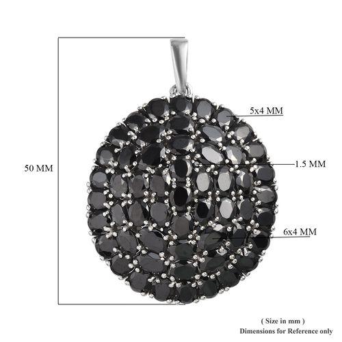 Limited Edition- Elite Shungite (Ovl), Boi Ploi Black Spinel Cluster Pendant in Platinum Overlay Sterling Silver 12.58 Ct, Silver wt 13.02