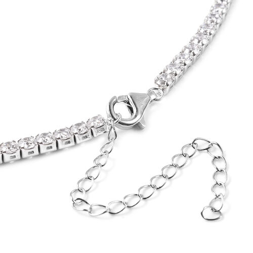 ELANZA - Simulated Diamond Necklace (Size 20) in Rhoidum Overlay Sterling Silver