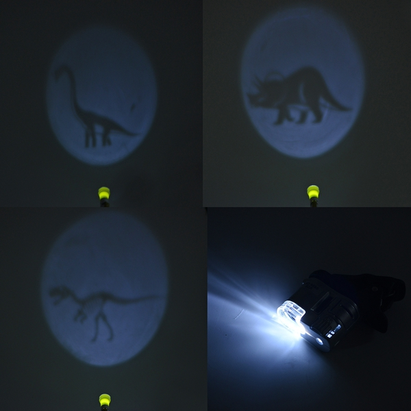 3 Piece Set - Children Microscope, 60X LED Microscope and Flashlight with 3 Dinosaur Patterns - Black, White, Green and Silver