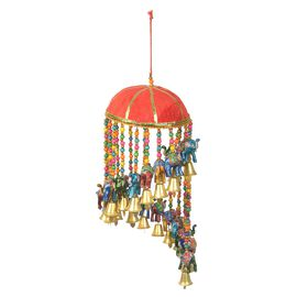 Christmas Decor  - Beaded Strings with Bamboo Basket Elephant and Bells Wind Chime