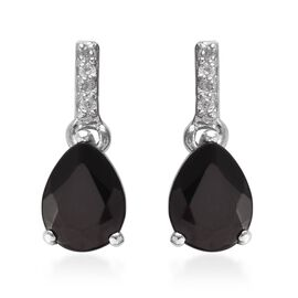 Elite Shungite (Pear), Natural Cambodian Zircon Earrings (with Push Back) in Platinum Overlay Sterli