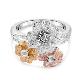 Diamond Floral Ring in Yellow, Rose Gold and Platinum Overlay Sterling Silver