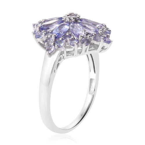 Tanzanite (Rnd) Ring in Platinum Overlay Sterling Silver 3.000 Ct.