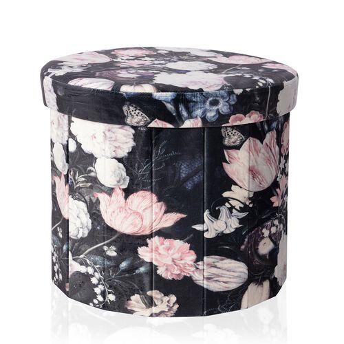 The Garden of Eden Printed Velvet Foldable Storage Ottoman and Round Stool (Size 43x36.50 Cm)