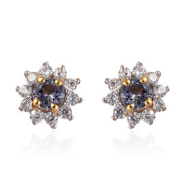 Peacock Tanzanite (Rnd), Natural Cambodian Zircon Stud Earrings (with Push Back) in 14K Gold Overlay